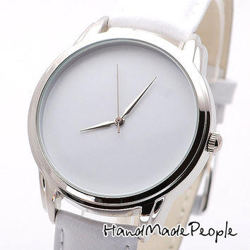 White Watch, Men and Women Minimalist Wrist Watch, Watches, Wristwatch, Ladies Watch, Women Gift Idea, Birthday Gift - Free Shipping