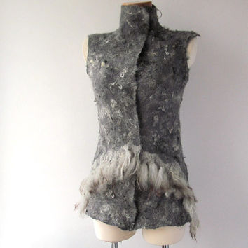 Felted vest  seamless grey raw wool fur