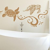 "Turtle Wall Decal Tortoise Tortoiseshell Ocean Sea Decals Wall Vinyl Sticker Interior Home Decor Wall Decor Bathroom Mural Art NV218 (16"" Tall x 38"" Wide)"