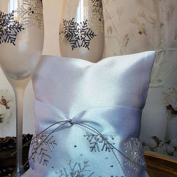 Hand painted Satin ring bearer pillow White Silver Snowflake theme Winter wedding swarovski crystals personalized wedding favor