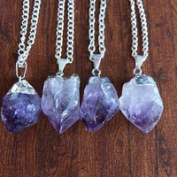 Silver Dipped Amethyst Necklace from Chromosphere