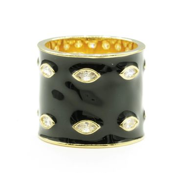 Wide Cylindrical Black and Gold Band Ring with Clear Cubic Zirconia Stones