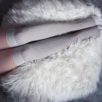 Oatmeal Tonal ZigZag Over the Knee socks | Patterned Socks | Playful Sophisticated Legwear at Between the Sheets
