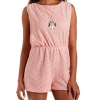 Light Coral Open-Side Crochet Romper by Charlotte Russe