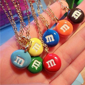 M&Ms Colored chocolate beans necklace short necklace sweater necklace cute gift personalized bridesmaid gift sweet gift best friend gift