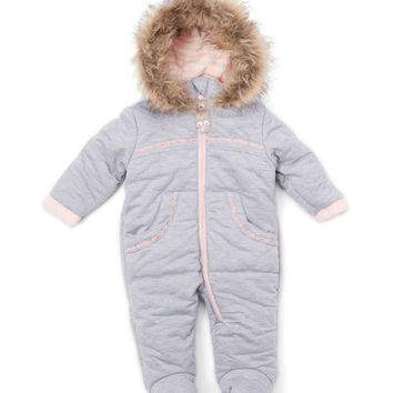 Heather Gray Knit Faux Fur Trim Snowsuit - Infant