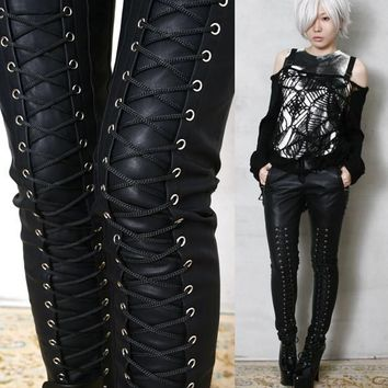 Rock Chic Motorcycle Biker Rider Laceup Leather-Like Cigarette Slim Pants/Jeans