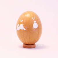 Sandy orange easter egg, Japanese washi Chiyogami paper, decorated egg, easter ornament, decoupage chicken egg, bunny, rabbit, red and white