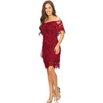 Burgundy Off Shoulder Wedding Guest Dress Short