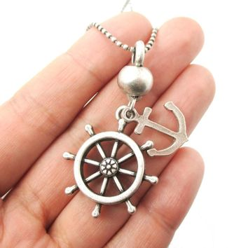 Classic Anchor and Helm Shaped Nautical Themed Pendant Necklace in Silver | DOTOLY