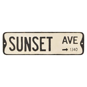 Vintage Metal Street Sign - Sunset Ave -- 32-in