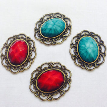2 pieces of Emerald Green or Red Faux Gemstone on Vintage Bronze Metal Alloy Applique Embellishment Cabochon