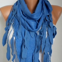 ON SALE - Blue Scarf -  Pashmina  Scarf  - Cotton Scarf - Women Scarves - Cowl with Lace  Edge - fatwoman