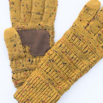 Knitted Gloves - Confetti Mustard