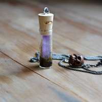 terrarium vial necklace with amethyst point