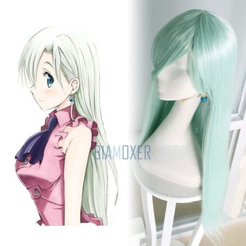 The Seven Deadly Sins Elizabeth Turquoise Pendant Earring Ear Clip Cosplay Props Long Hair Wig Cosplay Hairpiece Full Wigs