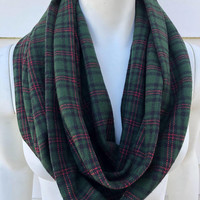 Green Christmas Scarf-Winter Chunky Scarf-Women's Handmade Flannel Plaid Infinity Scarf-Gifts for Her-Toddler Kid's Scarf-Mommy and Me