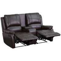 Flash Furniture Allure Series 2-Seat Reclining Pillow Back Brown Leather Theater Seating Unit with Cup Holders [BT-70295-2-BRN-GG]