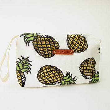 pineapple Monogram Bag tropical pineapple print cute pencil case personalized makeup Cosmetic pouch zipper Back to School gift for teen