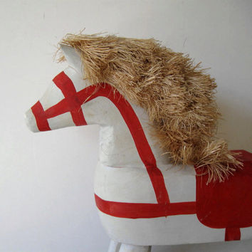 Large Red and White Vintage Rocking Horse, Toys, Kids, Primitive Folk Art, Home and Living, Home Decor, Country Home