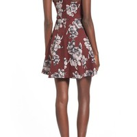 Lush Floral Print High Neck Skater Dress | Nordstrom