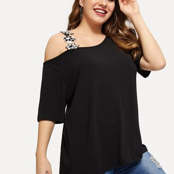 North Wind Asymmetrical Lace Strap Top for Curvy Gals