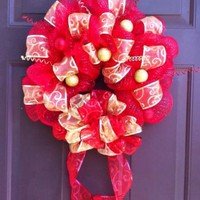 Deco Mesh Christmas Wreath for Front Door Holiday Decoration