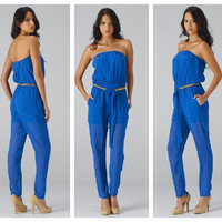 STRAPLESS JUMPSUIT CHAIN BELTED VIVID ROYAL BLUE TAPER LEG BLACK LABEL BOUTIQUE
