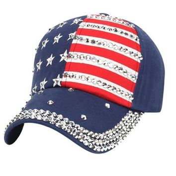 PEAP78W Unisex American Flag Baseball Cap Hot Sale Adjustable Women Men Rhinestone gorras Snapback Hip Hop Flat Hat bone masculino