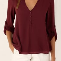 Epaulette Designed Long Sleeve V-Neck Chiffon T-Shirt