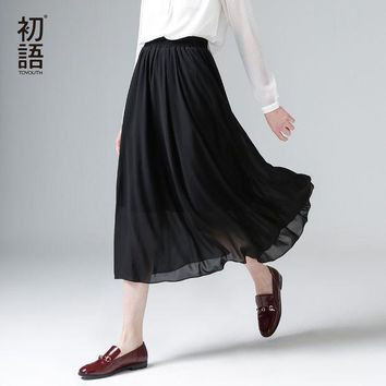 CREYET7 Toyouth 2017 New Arrival Spring Summer Elastic Waist Solid A-Line Chiffon Ankle-Length Peppy Women Skirts