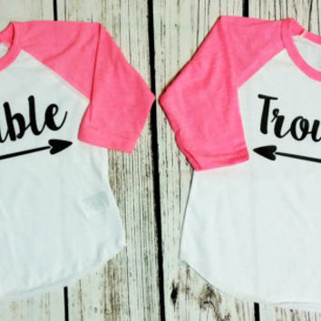 Baby girl Double Trouble Twin Shirt set - Best friend shirts