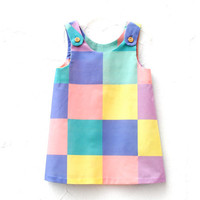 The Frances Dress - Organic Girls Dress in Geometric Squares - Easter Party Pinafore Dress for Spring (READY TO SHIP in size 4-5T)
