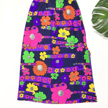 1960s psychedelic maxi skirt, 60s neon day glo maxi, vintage flower power skirt, retro floral hippie boho long skirt