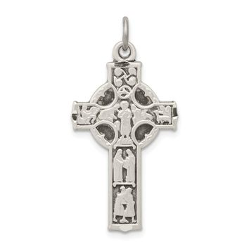 925 Sterling Silver Antiqued Celtic Cross with Biblical Figures Charm and Pendant