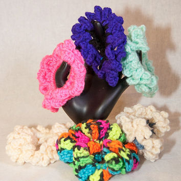 Hair Scrunchies, Hair Accessories, Crocheted Scrunchies, Crocheted Elastics, Stocking Stuffers