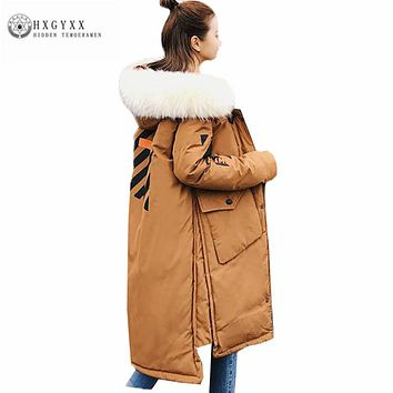 Big Fur Collar Hooded Parka Winter Jacket Woman 2017 Warm Cotton Padded Coat Long Puffer Jacket Plus Size Wadded Outwear Okb381