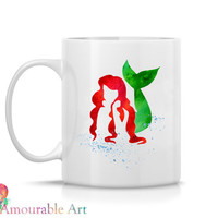 Coffee Mug, Ceramic Mug,Little Mermaid,  Coffee Mug, 11oz or 15oz, Watercolor Art Print Mug, Two-Sided Print,