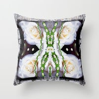 Fly with roses and wings into freedom Throw Pillow by Pepita Selles