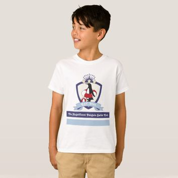 Funny Cute Penguin Swimming Club Crest Kids Custom T-Shirt