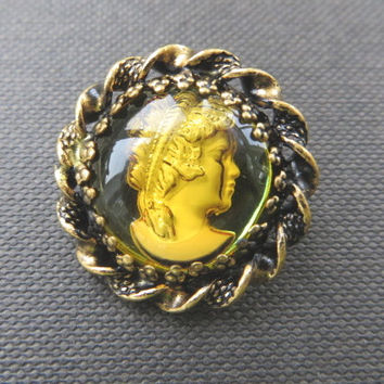 Vintage Cameo Brooch West Germany Green Intaglio Pin Vintage Jewelry