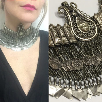 70s Kuchi Indian Coin Choker Necklace |  Tribal Antique Tassel chunky silver statement necklace headpiece | Boho Chic Vintage Gypsy Jewelry