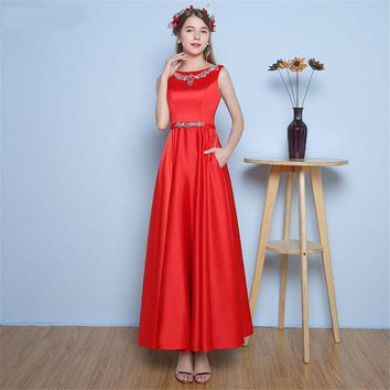 New Arrival Ankle Length Evening Dresses Side Pockets Satin with Beaded Sash Red Evening Gown Backless V Back Women Dress