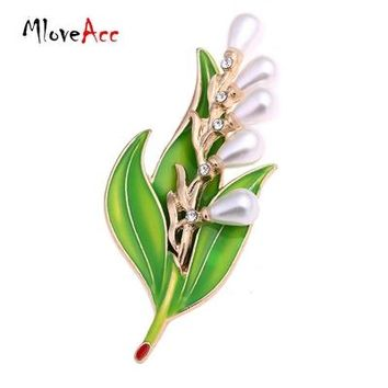 New Fashion Imitation Pearl Crystal Vintage Bridal Enamel Flower Leaf Brooches Pin for Scarf Buckle Clothes Accessories