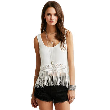 Women Crochet Lace Tank Top Tassel Fringe Crop Top Scoop Neck Sleeveless Casual Camisole Top Vest Female Blusas Feminino NW