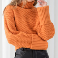 Explosive models high collar ladies solid color sweater sweater