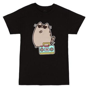 Pusheen The Cat with Boom Box Licensed Adult T-Shirt - Black