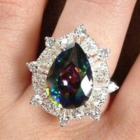 Rainbow Topaz Pear Ring from GemEnvy