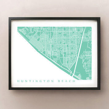 Huntington Beach Map Print - California Poster