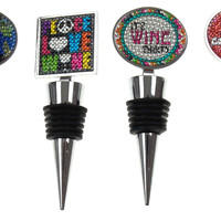 Faux Rhinestone Wine Stopper Set of 4 Put a Cork In It Peace Love Sayings SS